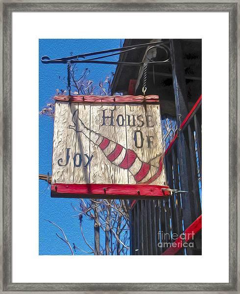Jerome Arizona - House Of  Joy - Whorehouse Sign Framed Print