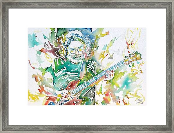 Jerry Garcia Playing The Guitar Watercolor Portrait.1 Framed Print