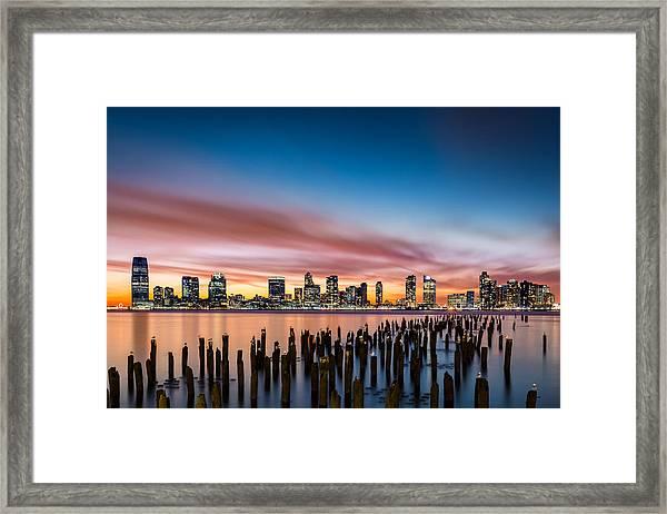 Jersey City Skyline At Sunset Framed Print