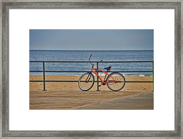 Framed Print featuring the photograph Jersey Shore Bicycle by Beth Sawickie