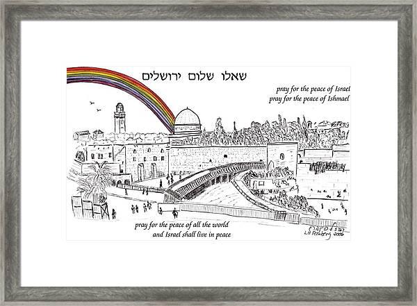 Jerusalem With Rainbow Framed Print
