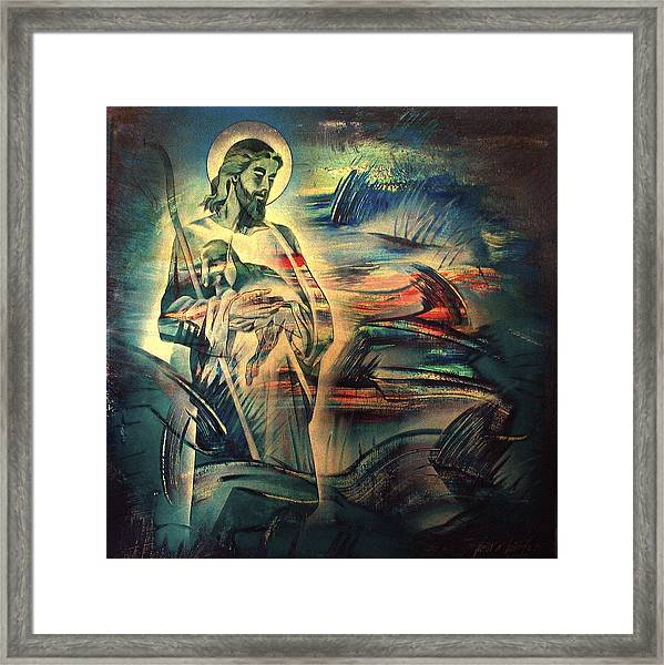 Jesus And The Lost Sheep 2004 Framed Print