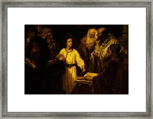 Jesus At Temple Framed Print