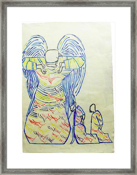Jesus Guardian Angel Framed Print