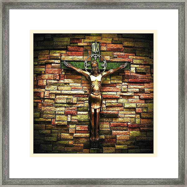 Jesus Is His Name Cream Border Framed Print