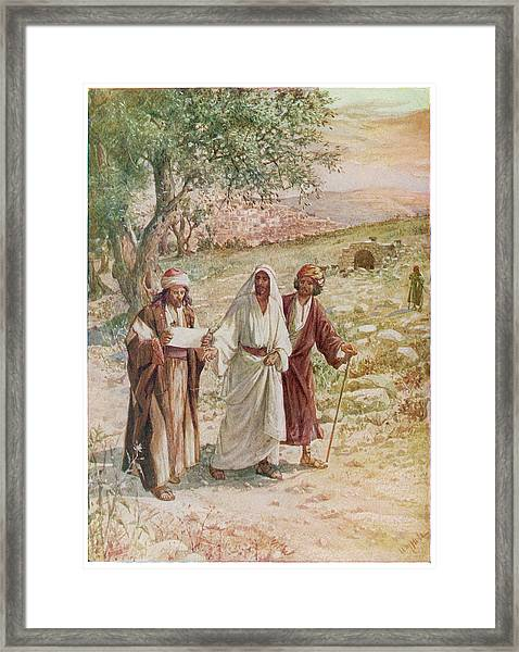 Jesus Proves His Identity  To Two Framed Print