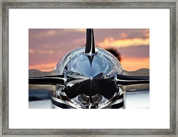 Airplane At Sunset Framed Print