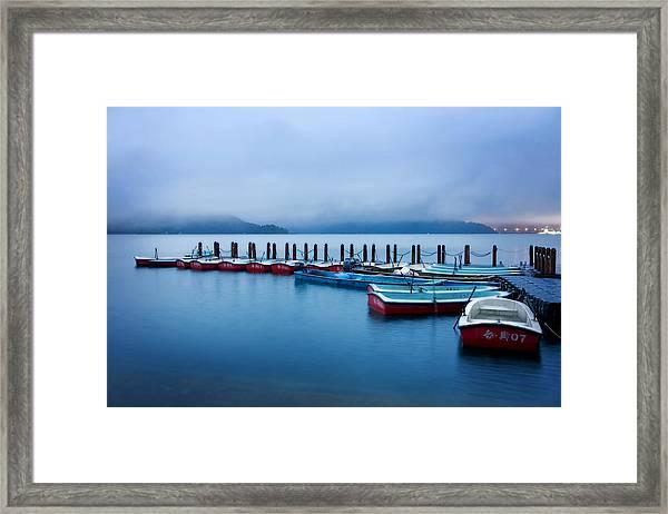 Jetty At Sun Moon Lake Framed Print