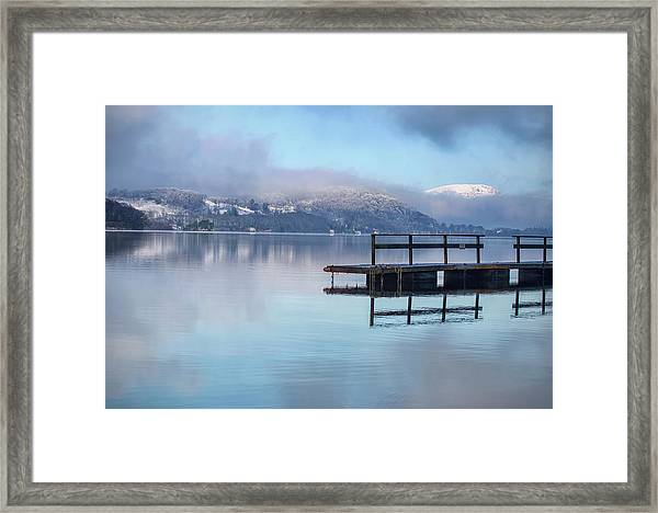 Jetty Reflected In Lake Windermere Framed Print