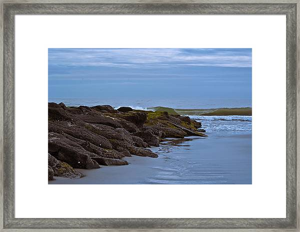 Framed Print featuring the photograph Jetty Vs Waves by Francis Trudeau
