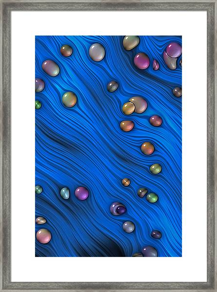 Jewels In Blue Flow Framed Print
