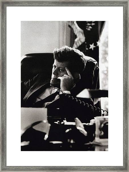 John F. Kennedy By Arthur Rickerby Framed Print by Retro Images Archive
