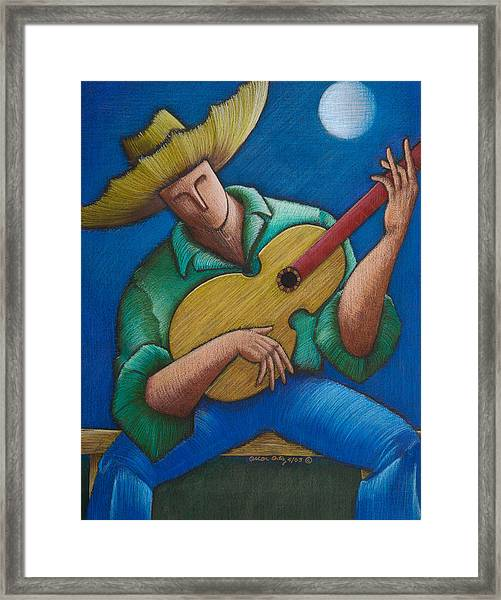 Framed Print featuring the painting Jibaro Bajo La Luna by Oscar Ortiz