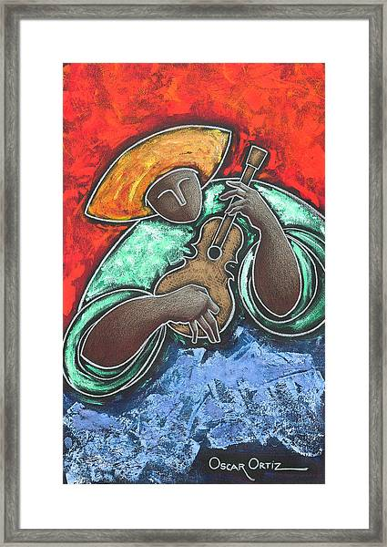 Framed Print featuring the painting Jibaro Encendi'o by Oscar Ortiz