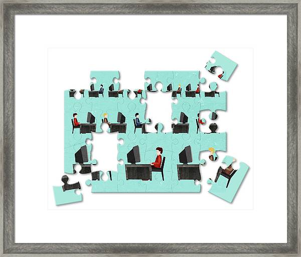 Jigsaw Puzzle Of Businessmen Framed Print by Fanatic Studio / Science Photo Library