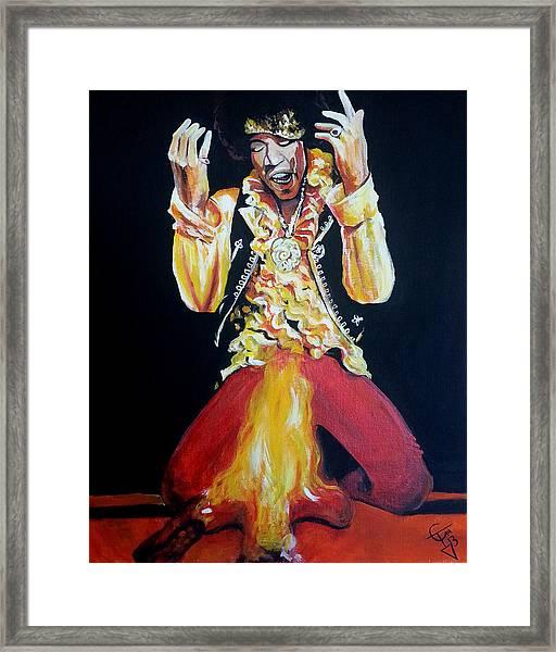 Jimi Hendrix - Fire Framed Print by Tom Carlton