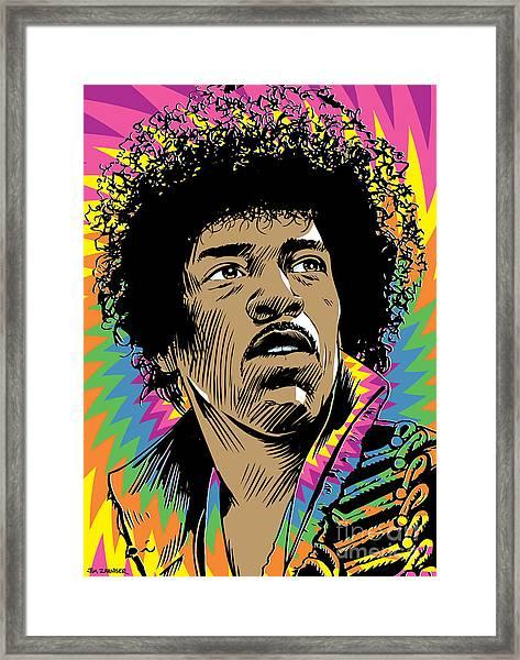 Jimi Hendrix Pop Art Framed Print
