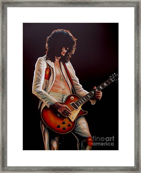 Jimmy Page In Led Zeppelin Painting Framed Print
