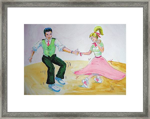 Jive Dancing Cartoon Framed Print