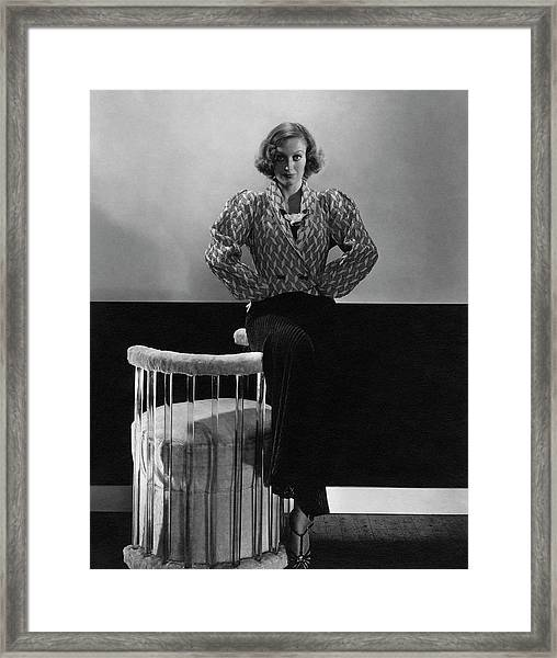 Joan Crawford Wearing A Schiaparelli Dress Framed Print
