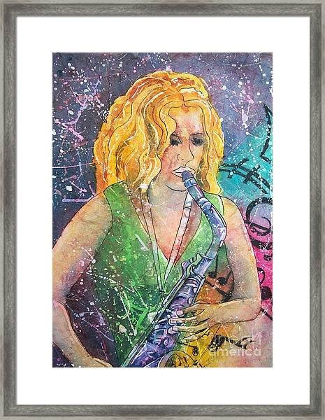 Jodi On Sax Framed Print
