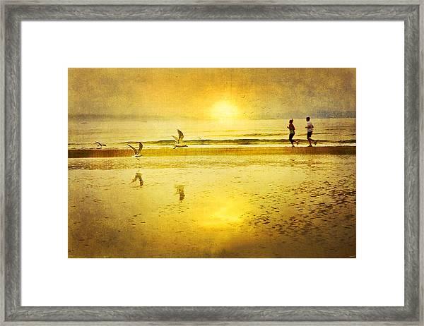 Jogging On Beach With Gulls Framed Print