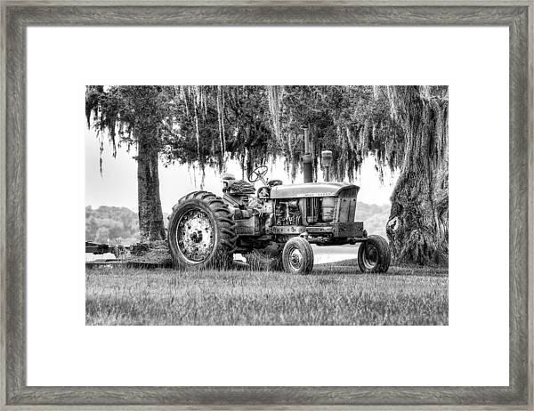 John Deer Tractor Under The Old Cedar Framed Print