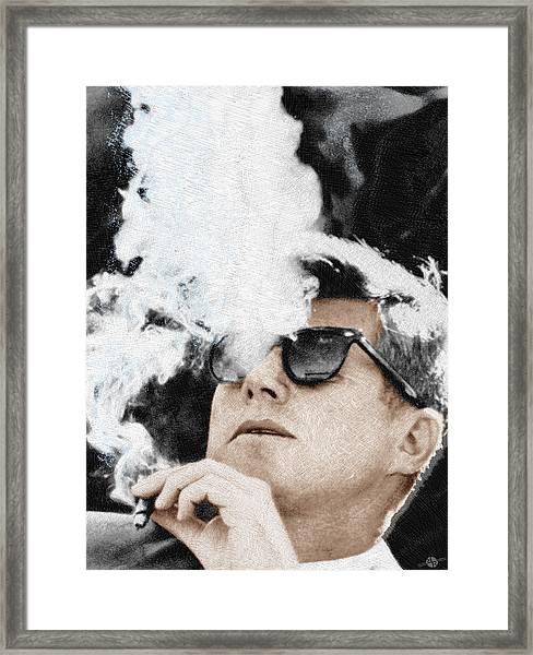 John F Kennedy Cigar And Sunglasses Framed Print