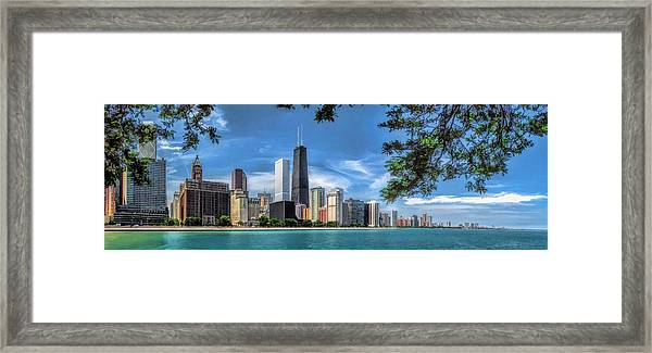 John Hancock Chicago Skyline Panorama Framed Print