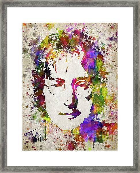 John Lennon In Color Framed Print