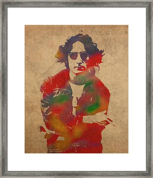 John Lennon Watercolor Portrait On Worn Distressed Canvas Framed Print