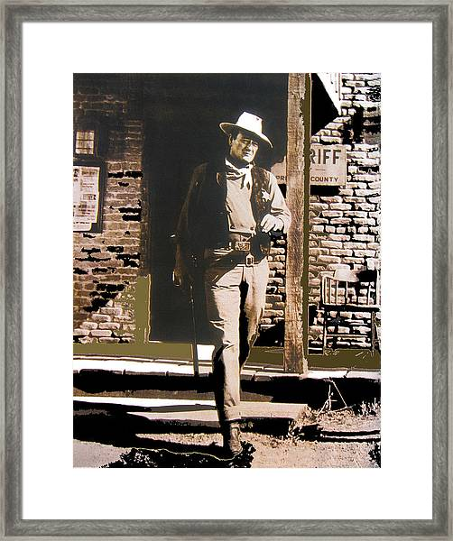 John Wayne Exciting The Sheriff's Office Rio Bravo Set Old Tucson Arizona 1959-2013 Framed Print