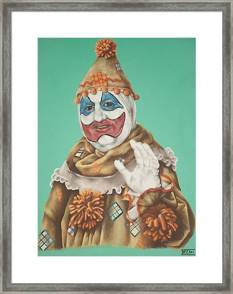 John Wayne Gacy As Pogo The Clown Framed Print