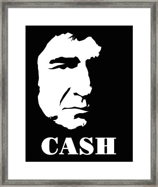 Johnny Cash Black And White Pop Art Framed Print