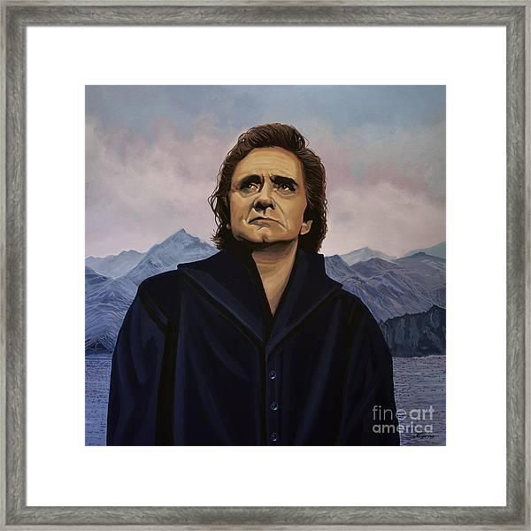 Johnny Cash Painting Framed Print