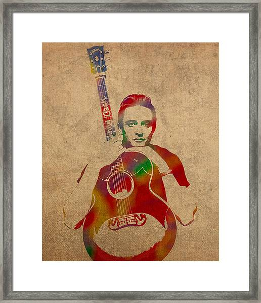 Johnny Cash Watercolor Portrait On Worn Distressed Canvas Framed Print