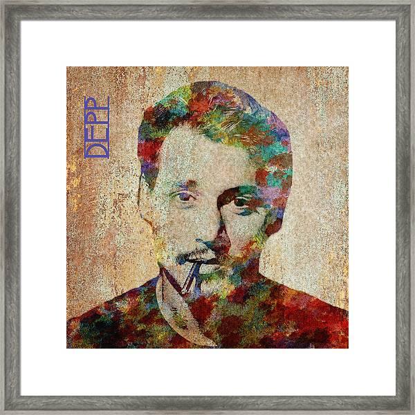 Johnny Depp Watercolor Splashes Framed Print