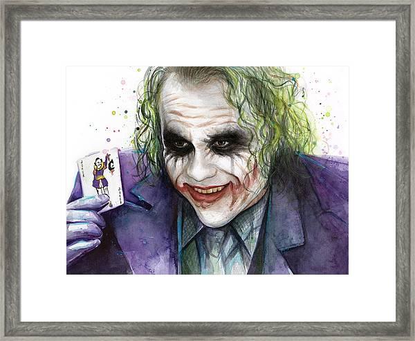 Joker Watercolor Portrait Framed Print