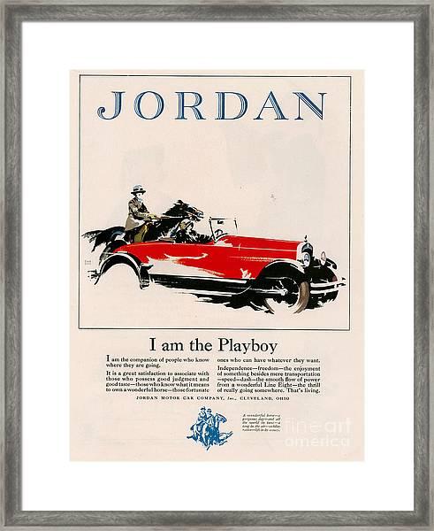 Jordan 1926 1920s Usa Cc Cars Horses Framed Print