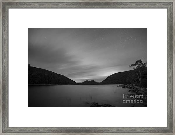 Jordan Pond Blue Hour Bw Framed Print