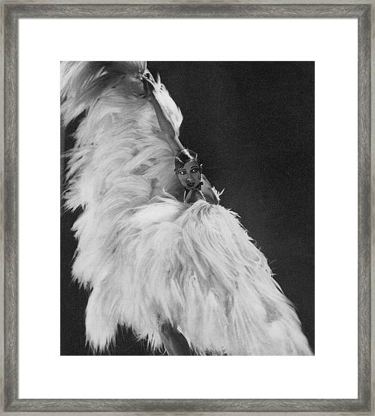 Josephine Baker Wearing A Feather Costume Framed Print
