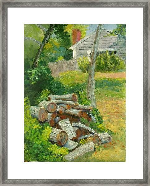 Joshua's Way Woodpile  Framed Print