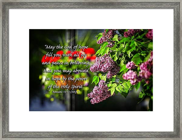 Joy And Peace Framed Print