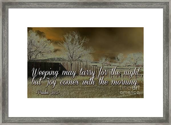 Joy In The Morning Framed Print