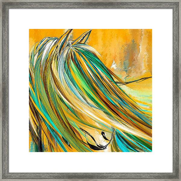 Joyous Soul- Yellow And Turquoise Artwork Framed Print