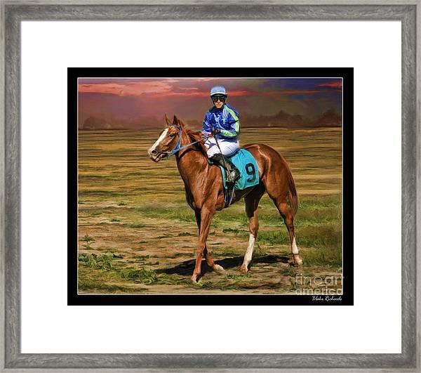 Juan Hermandez On Horse Atticus Ghost Framed Print