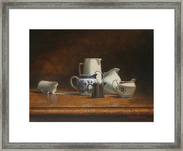 Jug Not That You Be Not Jugged Framed Print