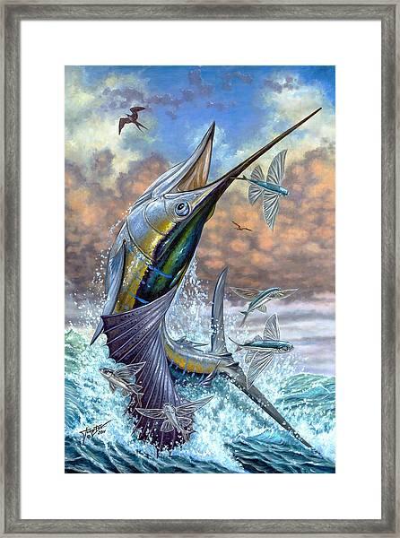 Jumping Sailfish And Flying Fishes Framed Print