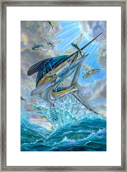 Jumping White Marlin And Flying Fish Framed Print
