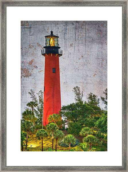 Framed Print featuring the photograph Jupiter Lighthouse by Debra and Dave Vanderlaan
